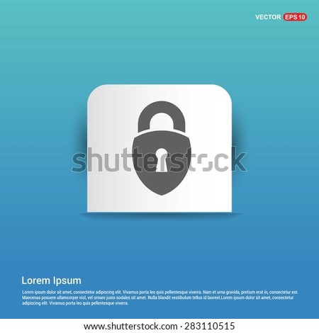 lock icon, padlock icon - abstract logo type icon - white sticker on blue background. Vector illustration
