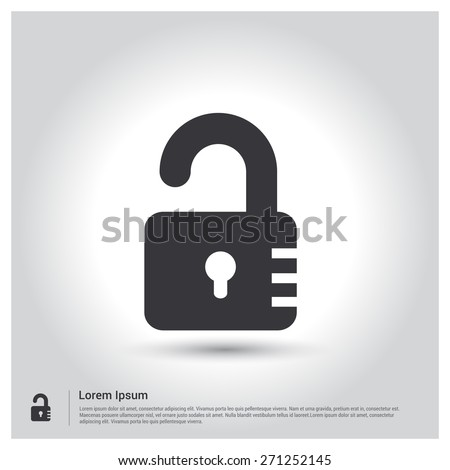 lock icon, padlock icon pictogram icon on gray background. Vector illustration for web site, mobile application. Simple flat metro design style. Outline Icon. Flat design style - stock vector