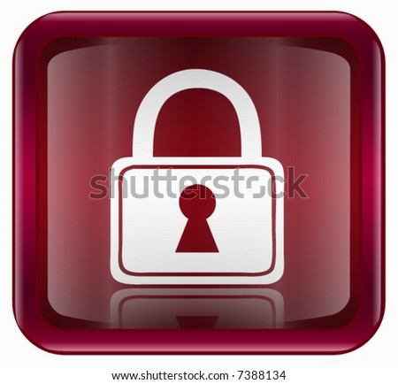 Lock icon, red - stock vector