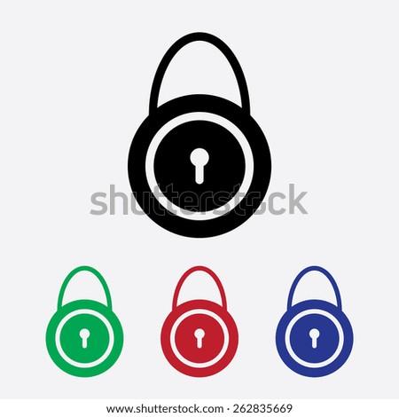 lock icon, vector illustration. Flat design style - stock vector