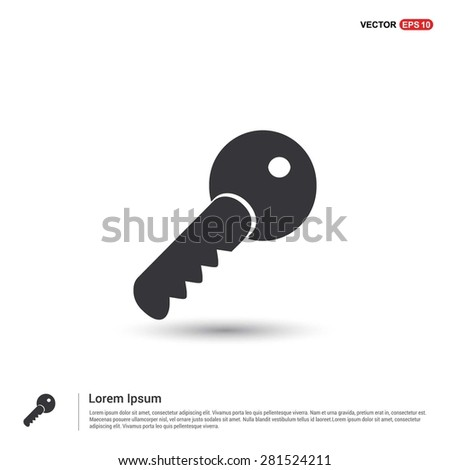 Lock Key Icon - abstract logo type icon - isometric white background. Vector illustration - stock vector