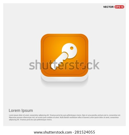 Lock Key Icon - abstract logo type icon - Orange abstract 3d button with light board and shadow on gray background. Vector illustration - stock vector