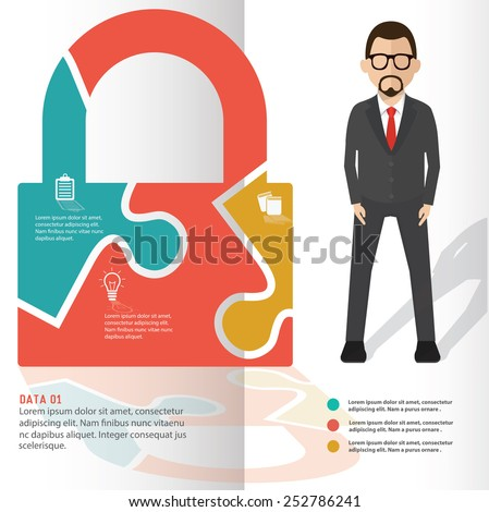 Lock puzzle info graphic design and character,clean vector - stock vector