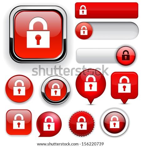 Lock red design elements for website or app. Vector eps10.  - stock vector
