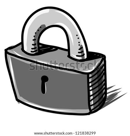 Lock sketch vector icon - stock vector