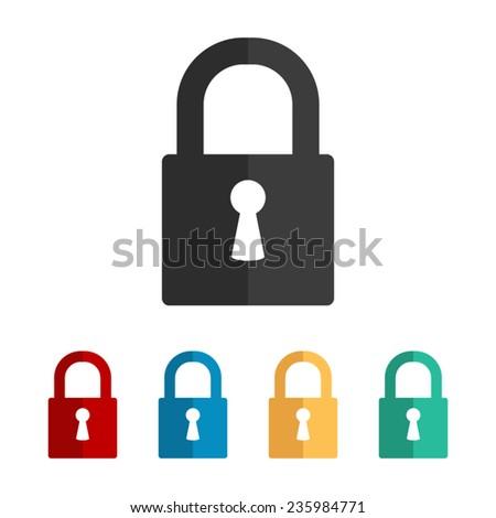 lock  - vector icon, flat design - stock vector