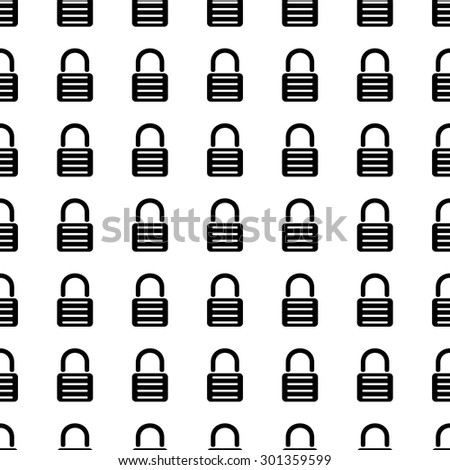Lock vector icon seamless pattern, tiling ornament on white. - stock vector