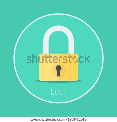Lock : Vector padlock icon flat design - stock vector