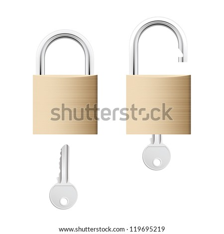 Locked and unlocked detailed gold locks with keys isolated on white background