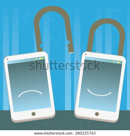 Locked and unlocked mobile phone Illustration of two mobile phones locked and unlocked, happy and sad. The grunge texture is removable from the background. - stock vector