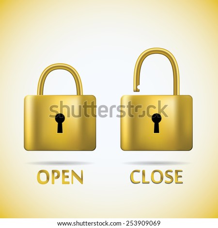 Locked and unlocked Padlock gold text open close. - stock vector