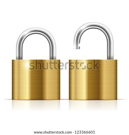 Locked and unlocked Padlock Icon isolated on white - stock vector