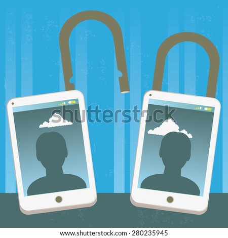 Locked and unlocked phone identity Illustration of two mobile phones with locked and unlocked identity. The grunge texture is removable from the background. - stock vector
