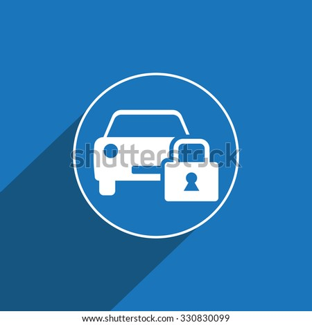 Locked car sign icon, vector illustration. Locked car symbol. Flat icon. Flat design style for web and mobile. - stock vector