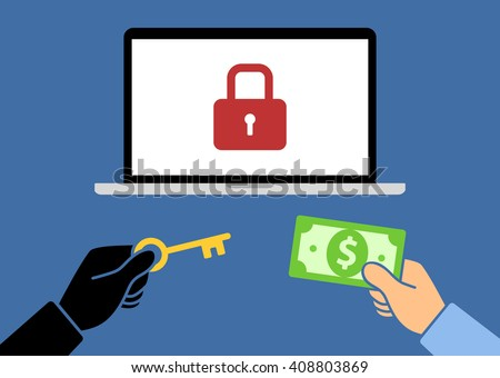Locked computer ransomware with hands holding money and key flat vector illustration - stock vector