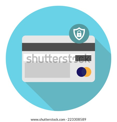 Locked credit card protection - stock vector