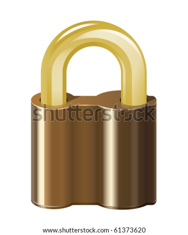 Locked padlock. Isolated on white background - stock vector