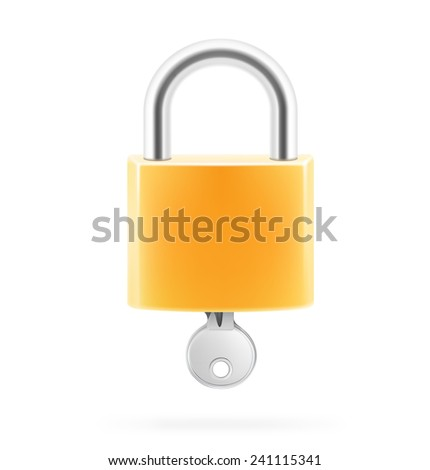 Locked padlock with key isolated on white background. Vector illustration. - stock vector