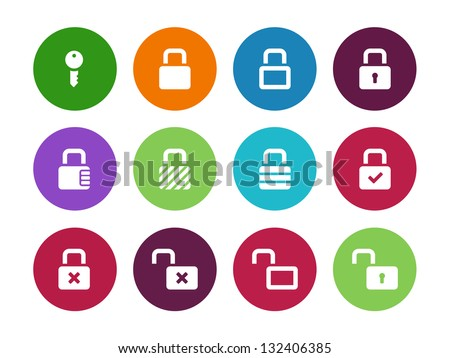 Locks circle icons on white background. Vector illustration. - stock vector