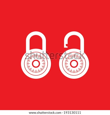 Locks icon on red background - Vector - stock vector
