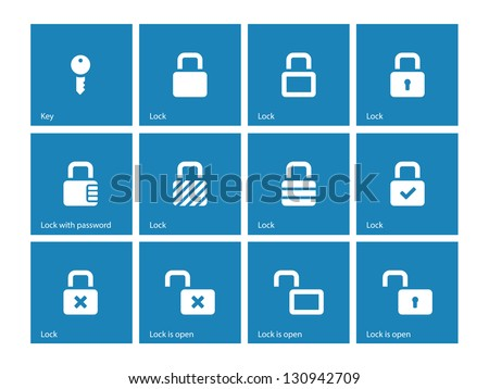 Locks icons on blue background. Vector illustration. - stock vector
