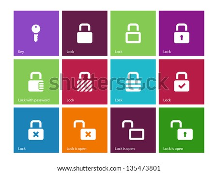 Locks icons on color background. Vector illustration. - stock vector