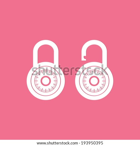 Locks icons on pink background  - Vector - stock vector