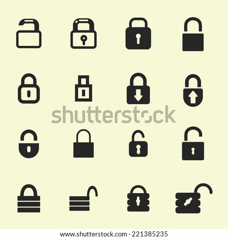 locks vector icon set - stock vector
