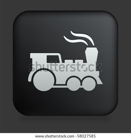 Locomotive Icon on Square Black Internet Button Original Illustration - stock vector