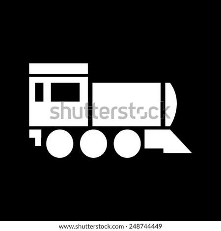 Locomotive icon . Vector illustration on a black background - stock vector