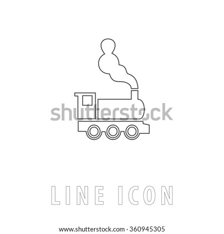 locomotive Outline simple vector icon on white background. Line pictogram with text  - stock vector