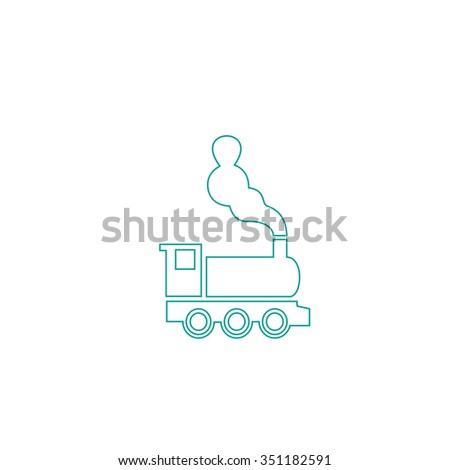 locomotive Outline vector icon on white. Line symbol pictogram  - stock vector