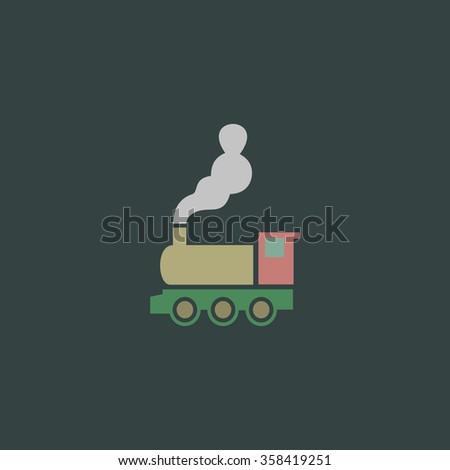 locomotive Retro dim color vector flat icon - stock vector