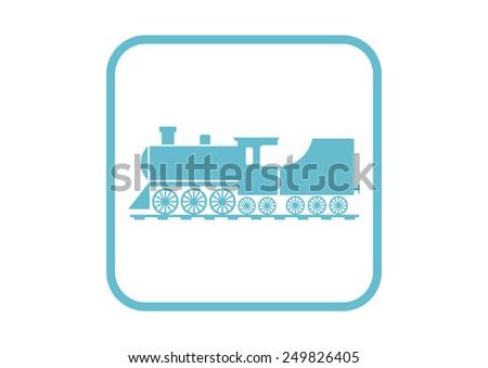 Locomotive vector icon on white background - stock vector