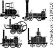 locomotives. This image is a vector illustration and can be scaled to any size without loss of resolution. - stock photo