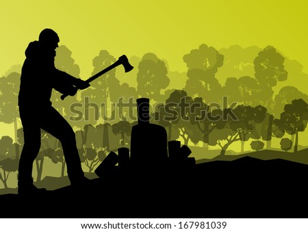 Logger woodcutter with ax in wild mountain forest nature landscape background illustration vector