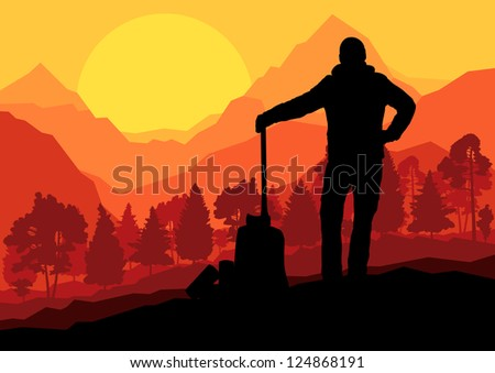 Loggers with axes in wild mountain forest nature landscape background illustration vector - stock vector