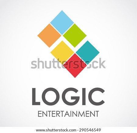 Logic entertainment logo game element square vector design symbol shape icon template business kids company abstract - stock vector