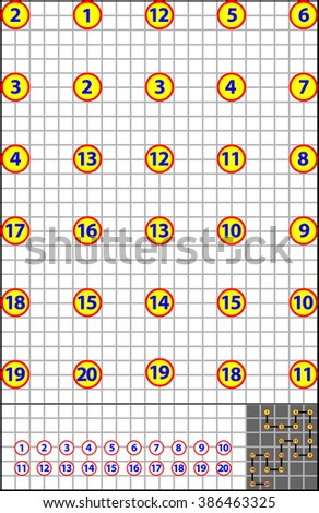 Logic puzzle on a square paper. Find the way how to join numbers from 1 to 20 by vertical or horizontal line. Developing children skills for counting. Vector image. - stock vector