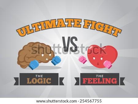 Logic versus feeling - stock vector