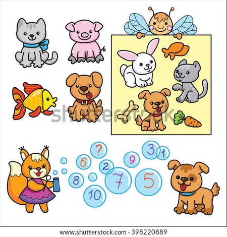 Logical task for children. Cartoon animals isolated on white background.