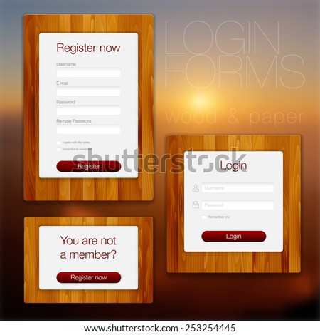 Login and register web forms on wood and paper background - vector illustration - stock vector