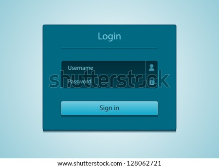 Login and registration web ui form window on dark blue background