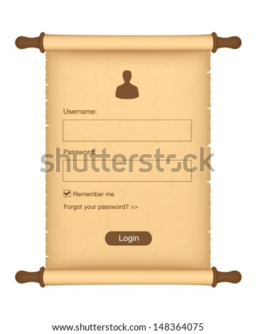 Login form on parchment roll - stock vector