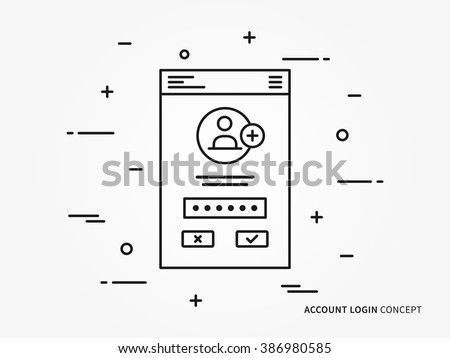 Login interface vector linear (line) illustration. User login access technology creative concept. Register web interface (log in, form, window, lock) graphic design. - stock vector