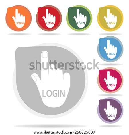 login of hand icon set on white background vector - stock vector