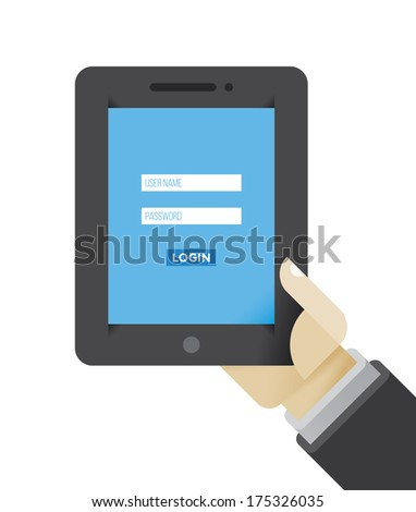 Login page on the tablet computer in businessman hand. Idea - Computer security,  Identifying and Authenticating. - stock vector