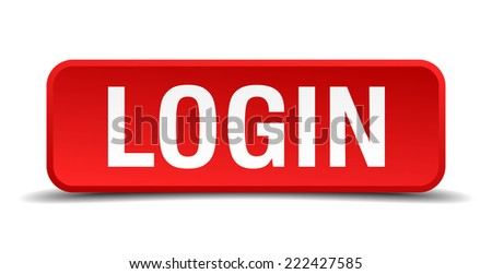 Login red 3d square button isolated on white - stock vector