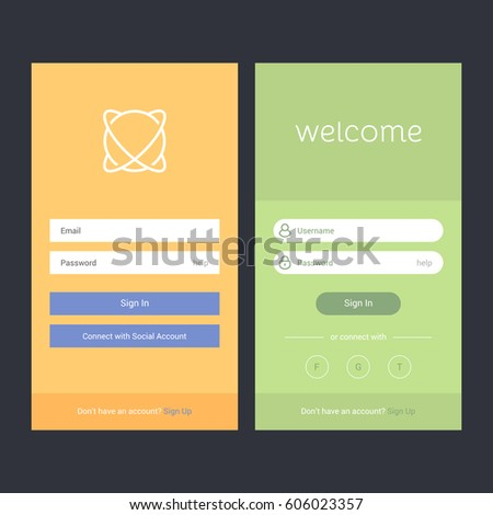 user interface design document template - login screen sign form template mobile stock vector