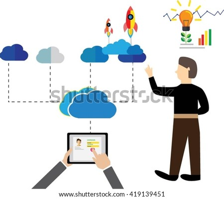 Login Vector Design and save data cloud  analysis background with laptop and serving hand